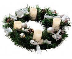 Best Season Adventskranz mit 4 Wachs-LED-Kerzen, Durchmesser circa 40 cm, cool light LED, batteriebetrieben inklusiv Batterien, Sichtkarton, weiß / silber Dekoration 004-54