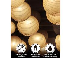LED Lampion Lichterkette Außen und Indoor - 40 Extra Große Lampions, Warmweiß, Wasserdicht - 10m LED Lichterkette mit 8 Lichteffekten - Lichterkette Lampions von Pure Living