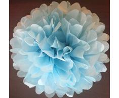 Matissa , 25cm, Hellblau, Pom Pom/Pompons aus Seidenpapier, 10Stück, Hochzeit, Partydekoration, über 20Farben zur Auswahl