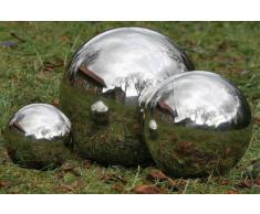Set: 3 Stück Dekokugel, Gartenkugel Galaxy in silber aus Edelstahl, Ø ca. 9 cm, 13 cm und 27 cm