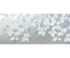 LineaFix Fensterfolie Babilon - Milchglasfolie im Blätter und Ranken Design - statische Dekorfolie Sichtschutz 46 cm hoch - Glasdekorfolie Meterware