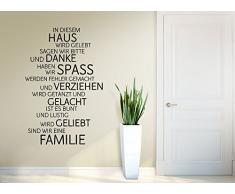 Grandora W991 Wandtattoo Familie Haus Lachen Liebe Spruch Wand Deko Aufkleber weiß (BxH) 58 x 87 cm
