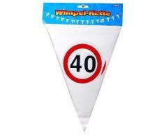 Wimpelkette 40 Verkehrsschilder Kunststoff, ca. 10 Meter