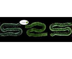 Butterfly 3m Grasgirlande Ø 10cm grün mit weißen Spitzen/Tannengirlande Weihnachtsgirlande Girlande Weinachten Christbaumschmuck Tanne Gras Deko Festzeltgirlande Hochzeit 100mm