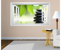 3D Wandtattoo Fenster Wellness Steine Wasser Blatt Feng Shui selbstklebend Wandbild Wandsticker Wand Aufkleber 11F693, Wandbild Größe F:ca. 162cmx97cm