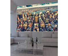 GREAT ART XXL Poster – Manhattan New York in der Dämmerung – Wandbild Skyline Städte Sightseeing City Stadt Deko Wanddeko Metropole Motiv Wanddekoration Motiv Dekoration (140 x 100 cm)
