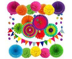 Zerodeco Party Dekoration Papier Pompoms, Aufhängen Fächer, Dreieckige Wimpel und hängende Glitter Punkt Girlande für Party Hochzeit Geburtstag Festival Weihnachten Event Mexikanische Fiesta 21 Stück