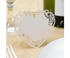 10x Tischkarten Hochzeit Herz Vintage ivory - Tischkarten, Platzkarten, Namenskarten, Platzkartenhalter