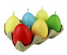 HAAC 6 Kerzen in Eiform Eierkerzen Eier Ostereier Ostern Größe 6 cm Farbe bunt