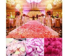 wuayi Künstliche Rosenblätter aus Seide, für Hochzeiten, Hochzeiten, Partys, Konfetti, Vase, Deko, 1000 Stück, Seide, P(200 Pcs), Einheitsgröße
