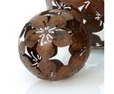 Dekokugel Blume Metall braun D 10 cm Gartenkugel Kugel