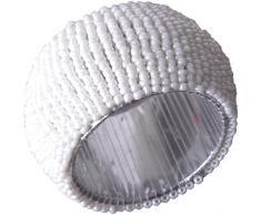 6er Pack Glasperlen Serviettenringe hangefertigt Innen-Ø4cm Auswahl: weiß - perlweiß