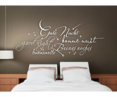 Grandora W761 Wandtattoo Gute Nacht International Schlafzimmer Kreativset dunkelrot