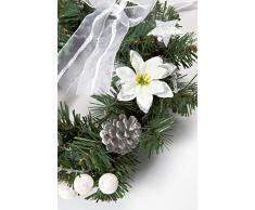 HEITMANN DECO Weihnachtskranz - Türkranz Wandkranz Weihnachten - dekorierter Kranz aus Tannenzweigen - Grün, Weiß, Silber