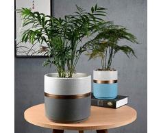 FENGRONG Vase Dekoration Weißgold Orchidee Keramik Blumentöpfe, Wohnzimmer, Balkon, Grün Rettich, Flacher Boden, Mit Schale (Color : Platinum Ash, Size : Medium)