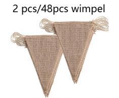 DAHI Wimpelkette 2 stücke Vintage Wimpel Banner Wimpel Girlande mit 48 Stück Dreiecksflaggen für Hochzeit,Party (braun)