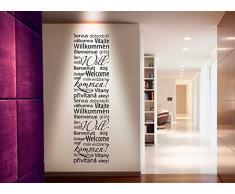 Wandtattoo-Günstig G030 Spruch Willkommen international Flur Wohnzimmer viele Sprachen Wandaufkleber Wandsticker schwarz (BxH) 29 x 103 cm