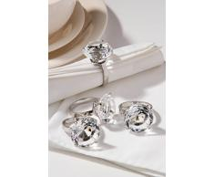 Premier Housewares Serviettenringe, 4er Set, klar Diamante, verchromt