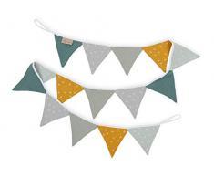 KraftKids Stoff-Wimpelkette Pusteblumen auf Gelb und Grau, handgemachte Wimpel-Girlande aus Baumwolle