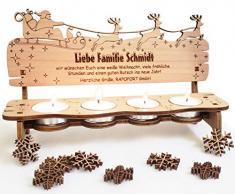 PISDEZ - Black Friday Angebote für Weihnachten - personalisierte Weihnachtsbank Adventsbänkchen Kerzenständer Kerzenhalter Adventskranz Holz Geschenke für Eltern - Wunschgravur