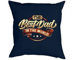 PAPA VERSTEHER Vatertagsgeschenk bedanken BEST DAD IN THE WORLD - Kissen mit Innenkissen - Vater Geschenkeidee zum Geburtstag Weihnachten Männer - Deko u Nutzkissen 40x40cm blau : )