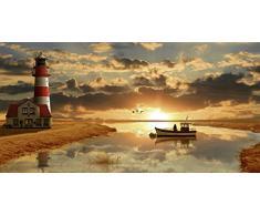 Artland Poster Kunstdruck oder Leinwand-Bild Wandbild fertig aufgespannt auf Keilrahmen Mausopardia Maritime Idylle beim Leuchtturm Architektur Gebäude Leuchtturm Digitale Kunst Orange