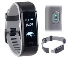Newgen Medicals Fitnessarmband Schwimmen: Premium-GPS-Fitness-Armband, XL-Touchdisplay, Puls, 18 Sportarten (Sportuhren)