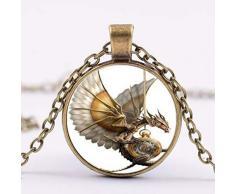 Féeries et Wunderveilles Drachen-Halskette aus Bronze, Drachenfigur, Organzabeutel