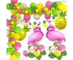 MMTX Hawaii Beach Party Dekoration, Tropical Summer Party Zubehör Luau Hawaii Theme Party mit Flamingo Ananas Heliumballons, Dekor Girlande Bunting Banner und Latex Party Ballons Packung mit 50 Stück