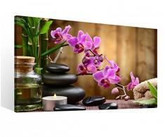 Leinwandbild 1 Tlg XXL Wellness Öl Massage Steine Feng Shui Spa Orchidee Blume Leinwand Bild Leinwandbilder Holz 9O722, XL 1Tlg BxH:60cmx40cm