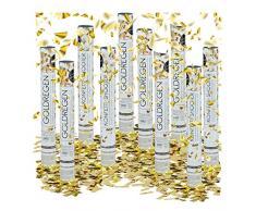 Relaxdays 10 x Party Popper 40 cm im Konfettikanonen Set, Konfetti Bombe für Hochzeit und Geburtstag, Konfetti Shooter 6-8 m Effekthöhe, Gold metallic