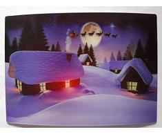 3 D Ansichtskarte Weihnachtsdorf, lila, Postkarte Wackelkarte Hologrammkarte, Haus Häuser Dorf Weihnachten