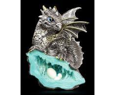 Kleine Drachen Figur   Blauer Wächter 12,5 cm auf Kristall   Fantasy Deko
