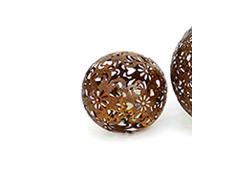 Dekokugel Blüte Gartenkugel Metall dunkelbraun D 10 cm Kugel
