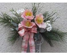 Generisch Türkranz/Dekorativer Filzschlittschuh grün-weiß-rosa mit Christrosen Weihnacht/Winter ca.35cm x30cm Handarbeit/Einzelstück