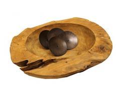 Trendy-Home24 Teak Adventskranz Wurzelschale Holzschale Obstschale Schale massiv rund Ø 35-40 cm Dekoschale