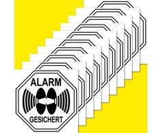 10 Stück 5cm Alarm gesichert Aufkleber Sticker Warnung Hinweis Balkon Tür Fenster Rahmen