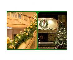DaoRier Künstliche Tannengirlande Weihnachtsgirlande Grün 2.7M Dekogirlande mit Weihnachtskugeln und Blumen