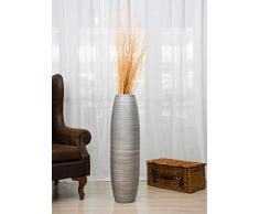 Leewadee Große Bodenvase für Dekozweige hohe Standvase Design Holzvase, 25x90 cm, Holz, Silberfarben