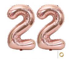 Huture 2 Luftballons Zahl 22 Figuren Aufblasbar Helium Folienballon Große Folienmylar Ballons Riesen Roségold Ballons 40 Zoll Luftballons Zahl für Geburtstag Party Dekoration Abschlussball XXL 100cm