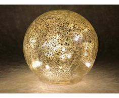 Glaskugel Leuchtkugel silber warmweiß batteriebetrieben Innen- und Außenbereich 20 cm
