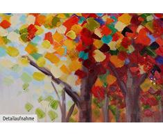 KunstLoft® Acryl Gemälde Creative Walk 100x75cm   original handgemalte Leinwand Bilder XXL   Bäume Wald Bunt Sonne Natur Rot   Wandbild Acrylbild moderne Kunst einteilig mit Rahmen