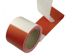 Connex Absperrband 100 m x 80 mm - rot / weiß - Beidseitig bedruckt - UV-beständig & reißfest - Aus Polyethylen (PE) / Warnband / Flatterband / Markierungsband / Absperrungsband / DY2700591