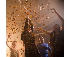 Relaxdays 2 x Party Popper 80 cm im Konfettikanonen Set, Konfetti Bombe für Hochzeit und Geburtstag, Konfetti Shooter 6-8 m Effekthöhe, Gold/Silber metallic