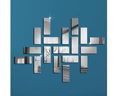 Fancy Decor(TM)Silber 18 Stück Rechtecke Rahmen Acryl Kristall Reflective DIY Spiegel-Effekt 3D wasserdichte Wandaufkleber Dekor-Abziehbilder Wohnzimmer Badezimmer Dekoration Wall Sticker Wandtattoos