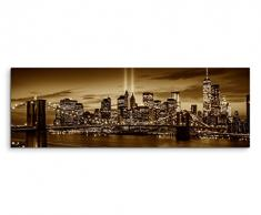 150x50cm Wandbild Panorama Fotoleinwand Bild in Sepia New York Brooklyn Bridge Manhattan River Hudson Boot