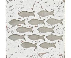 Wandobjekt Bild Wandbild Wandschmuck Maritim Fische Shabby Vintage Style Design Deko Dekoration Wandverzierung Wandbild Wanddekoration Fischschwarm