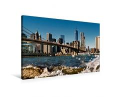CALVENDO Premium Textil-Leinwand 75 cm x 50 cm quer, New York Brooklyn Bridge   Wandbild, Bild auf Keilrahmen, Fertigbild auf echter Leinwand, Leinwanddruck: das One World Trade Center Orte Orte