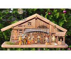 XXL ÖLBAUM Weihnachtskrippe-Krippenstall 80 cm, Oelbaum-Krippe K80-MF-BRK- mit LED + Brunnen + Dekor, Massivholz historisch braun