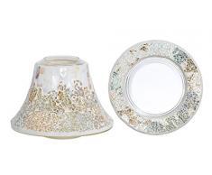 Yankee Candle 1344588 Teller und Lampenschirm für Kerzen, 19,50 x 19,50 x 13 cm, Glas, Gold/Perlmutt